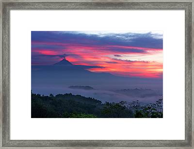 Framed Print featuring the photograph Smoking Volcano And Borobudur Temple by Pradeep Raja Prints