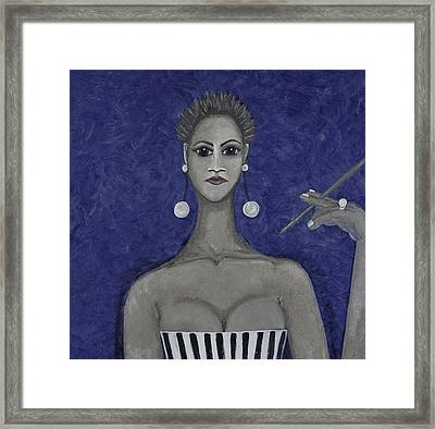 Smoking Woman 3 - Blue Framed Print