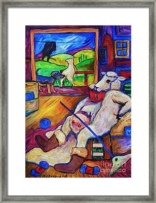 Framed Print featuring the painting Smoko At The Sheep Shearing Shed by Dianne  Connolly
