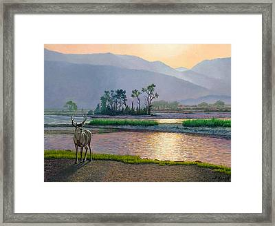 Smoky Morning Glitter Framed Print