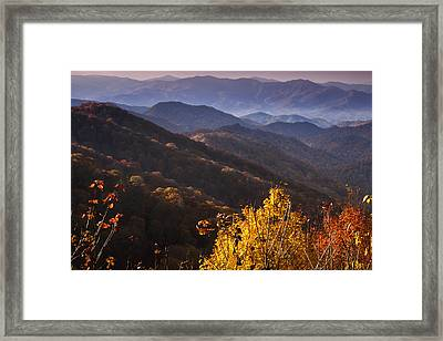 Smoky Mountain Hillsides At Autumn Framed Print by Andrew Soundarajan