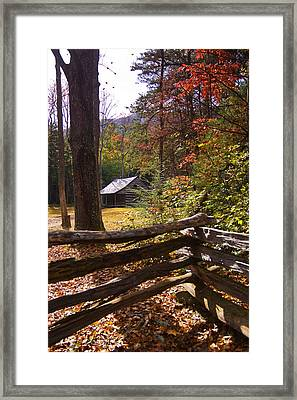 Framed Print featuring the photograph Smoky Mountain Log Cabin by Bob Decker