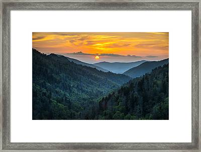 Smoky Mountains Sunset - Great Smoky Mountains Gatlinburg Tn Framed Print
