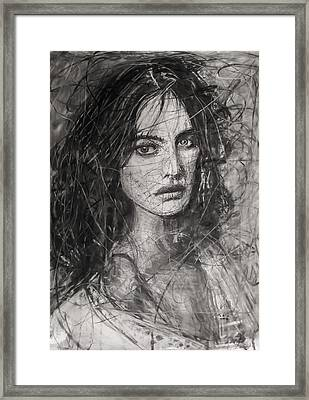 Framed Print featuring the painting Smoky Noir... Ode To Paolo Roversi And Natalia Vodianova  by Jarko Aka Lui Grande
