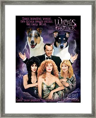 Smooth Collie Art Canvas Print - The Witches Of Eastwick Movie Poster Framed Print by Sandra Sij