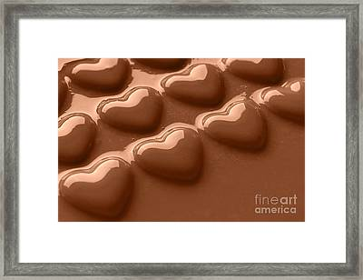 Smooth Melted Chocolate Hearts  Framed Print