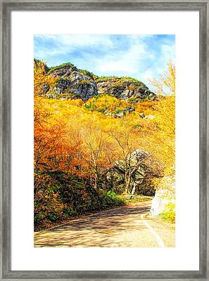 Smugglers Notch Road In Autumn Framed Print