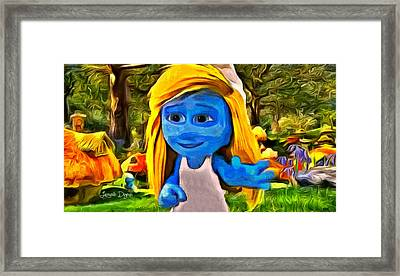 Smurfette Saying Hello - Pa Framed Print by Leonardo Digenio