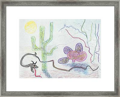 Snake In Desert Framed Print by Suzanne  Marie Leclair