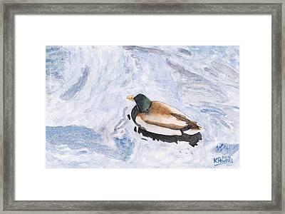 Snake Lake Duck Sketch Framed Print by Ken Powers