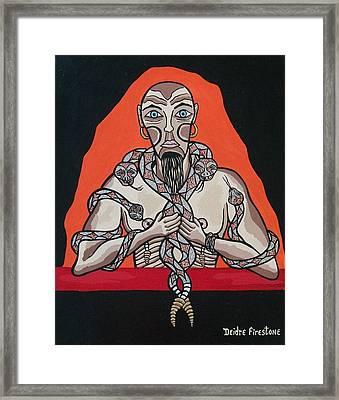 Snake Man's Twisted Desires Framed Print by Deidre Firestone