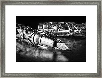 Snake Pen In Black And White Framed Print