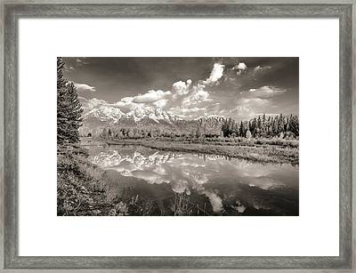 Snake River Reflection Grand Teton Monochromatic Framed Print