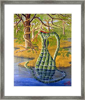 Snake Skin Pitcher Framed Print by Myrna Salaun