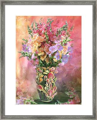 Framed Print featuring the mixed media Snapdragons In Snapdragon Vase by Carol Cavalaris