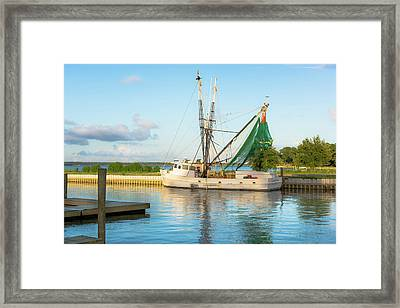 Snead's Ferry Shrimp Boat Framed Print by Cynthia Wolfe