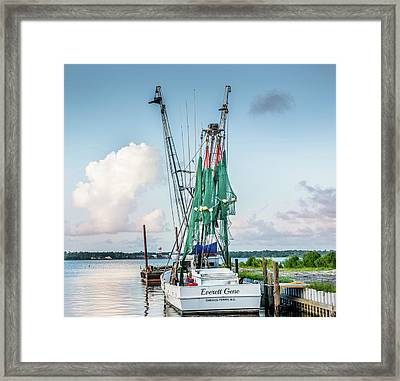 Snead's Ferry, The End Of The Day Framed Print by Cynthia Wolfe