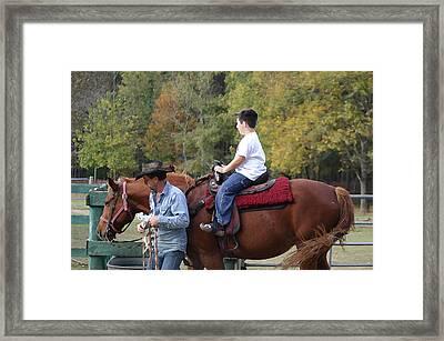 Sneaker Wearing Cowboy Framed Print by Kim Henderson