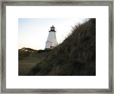 Sneaking Up On A Lighthouse Framed Print