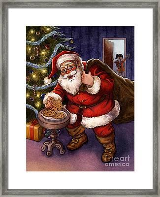 Sneaky Santa Framed Print by Isabella Kung