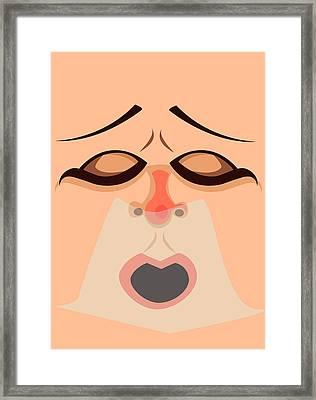 Sneezing Face Illustration Framed Print