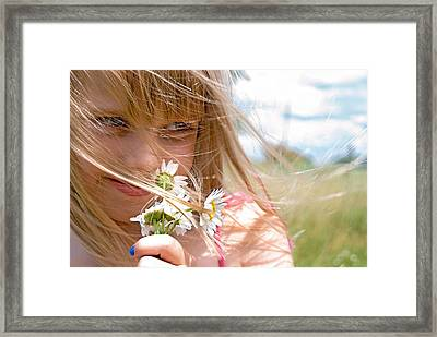 Sniffing Summer Framed Print by Maria Dryfhout