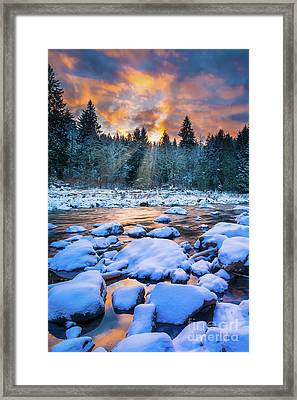 Snoqualmie Falls Sunset Framed Print by Inge Johnsson