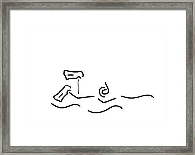 Snorkel Divers Dive Framed Print by Lineamentum