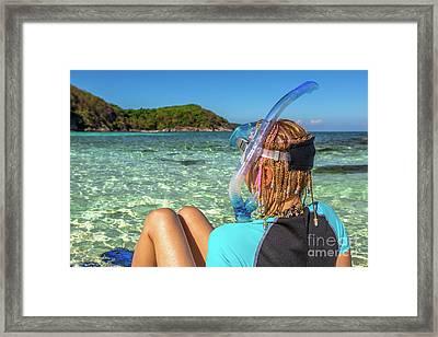 Snorkeler Relaxing On Tropical Beach Framed Print