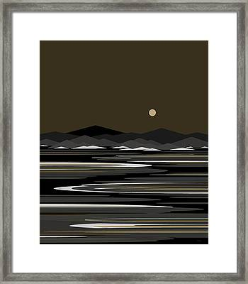 Snow And Ice - Night River Framed Print by Val Arie