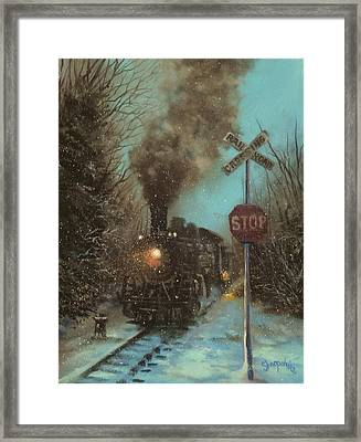 Snow And Steam Framed Print
