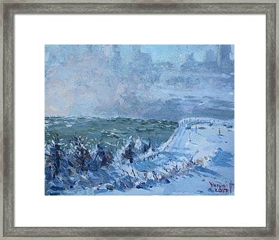 Snow At Horseshoe Falls Framed Print