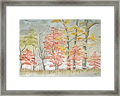 Snow At The Edge Of The Woods Framed Print by Fran Hoffpauir