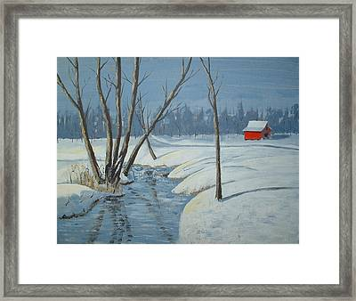 Snow Barn Framed Print