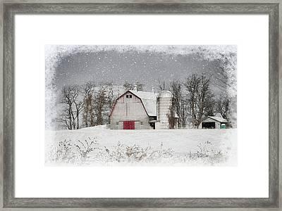 Snow Barn Framed Print