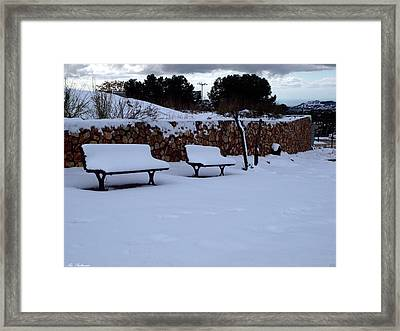 Snow Bench Framed Print