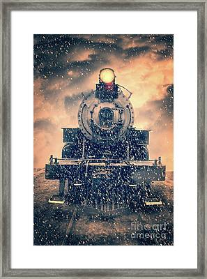 Framed Print featuring the photograph Snow Bound Steam Train by Edward Fielding