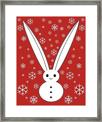 Snow Bunny And Snowflakes Red Framed Print by Kourai
