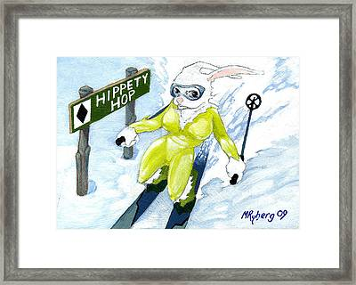 Snow Bunny Skiing Framed Print by Mark Ryberg