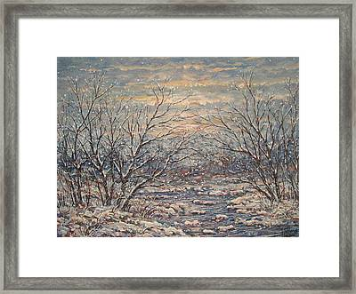 Snow By Brook. Framed Print