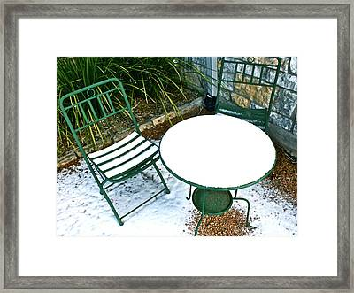 Snow Cafe Framed Print