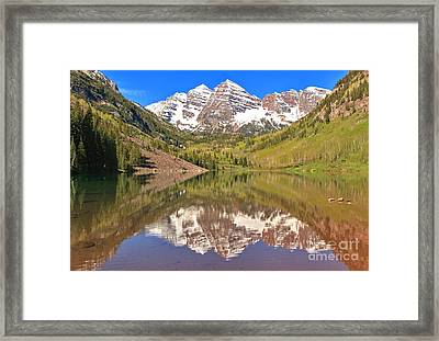 Snow Capped Reflections Framed Print