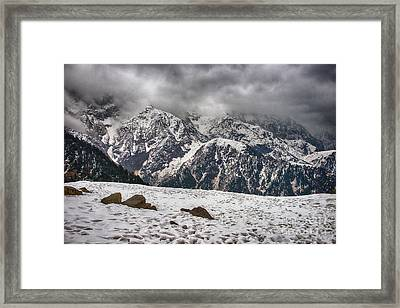 Framed Print featuring the photograph Snow Capped Triund Hill by Yew Kwang