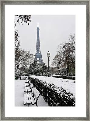 Snow Carpets Benches And Eiffel Tower Framed Print
