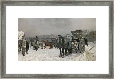 Snow Clearing By The Seine Framed Print by Christian Skredsvig