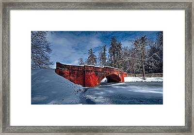 Snow Covered Bass Pond Bridge Framed Print
