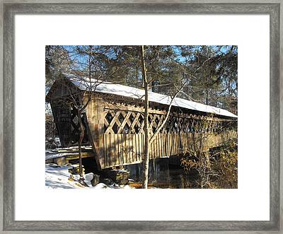 Snow Covered Bridge Framed Print by Adam Cornelison