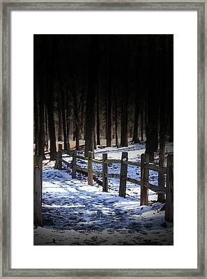 Framed Print featuring the digital art Snow Covered Bridge by Kim Henderson
