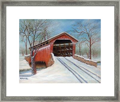 Snow Covered Bridge Framed Print
