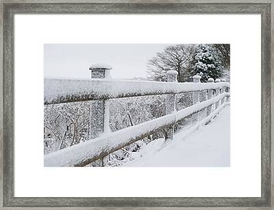 Snow Covered Fence Framed Print by Helen Northcott